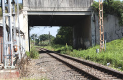 Railway Track Running Under Overhead  Bridge Stock Image