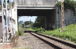 Railway Track Running Under Overhead  Bridge Stock Image
