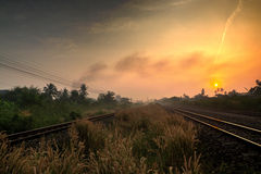 Railway Track with Rural Scene in the Morning Royalty Free Stock Images