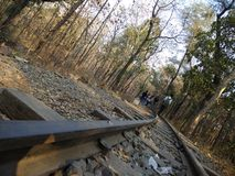 Railway track at seminary hills. This is a photo of the railway track at the seminary hills. People are walking on that railway track and enjoying the nature Royalty Free Stock Photo