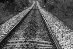 Railway track showing its way how to lead life Stock Images