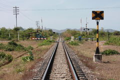 Railway track. And sign in Thailand rural Royalty Free Stock Photo