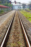 Railway track and signaling. Railway Tracks, single track and signaling at train station stock image