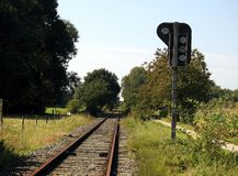 Railway track and signpost Royalty Free Stock Photography