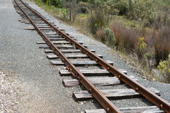 Railway track. Single old railway track going into distance royalty free stock images