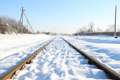 Railway track in the snow Stock Photo