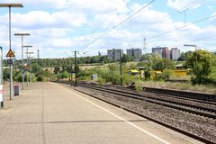 Railway track and station single and multiple tracks Railroad Waiting for the train. In Stuttgart Germany stock images