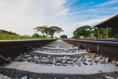 Railway track on steel bridge shallow depth of field Stock Photo