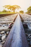 Railway track on steel bridge shallow depth of field Royalty Free Stock Photography