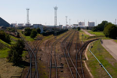 Railway track to the port. Railway tracks to  the oil reloading park Stock Photo