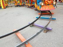 Railway track toy colors turn. Railway track toy colors train turn stock photos