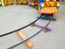 Railway track toy colors turn. Railway track toy colors train turn royalty free stock image