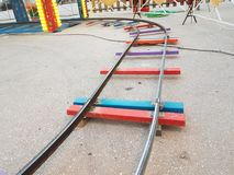 Railway track toy colors turn. Railway track toy colors train turn royalty free stock photos