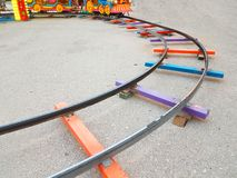 Railway track toy colors turn. Railway track toy colors train turn stock photography