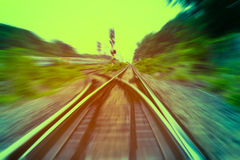 Railway track, train fast run on railway track Stock Photos