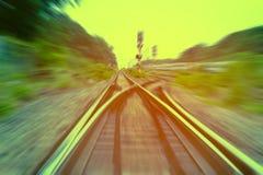 Railway track, train fast run on railway track.  Royalty Free Stock Image