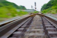 Railway track, train fast run on railway track.  Royalty Free Stock Photos