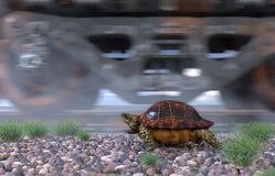 Railway track and train with running turtle. Travel  technology concept Royalty Free Stock Photos