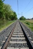 Railway track and travel concept stock photo