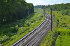 Railway track with turn. On the background of nature. View from above royalty free stock photography