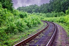 Railway track with turn going in distance. Excellent rail jou. Rney. Railroad runs through forest royalty free stock image
