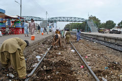 Railway track under construction. Stock Images