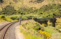 Railway track up Taieri Gorge New Zealand Stock Photos