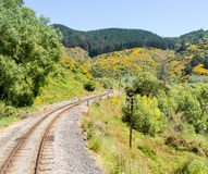 Railway track up Taieri Gorge New Zealand Royalty Free Stock Photo