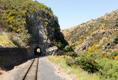 Railway track up Taieri Gorge New Zealand Royalty Free Stock Images