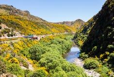Railway track up Taieri Gorge New Zealand Stock Photo