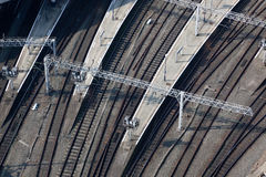Railway track viewed from above. Railway track and platforms viewed from above Royalty Free Stock Photos