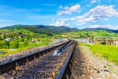 Railway track in Vorokhta, Ukraine Royalty Free Stock Image