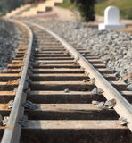 Railway Track. With white Mile stone Royalty Free Stock Image