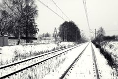 Railway track in winter Royalty Free Stock Images