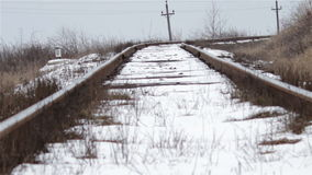 Railway track in winter stock footage
