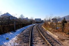 Railway track in winter. With little snow Royalty Free Stock Images