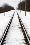Railway track in winter Stock Photos