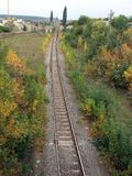 Railway tracks. In nature; travel concept Royalty Free Stock Photos