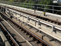 Railway tracks. Of the Docklands Light Railway in east London Stock Photography