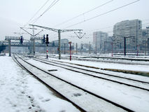 Railway tracks. A lots of railway tracks in winter Stock Photography