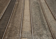 Railway Tracks. Three Raliway Tracks Running Parrallel to Each Other Stock Photo