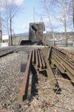 Railway Tracks. Are piled beside a railway line Stock Photo