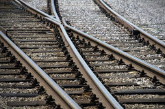 Railway tracks. In a summer day Stock Photos