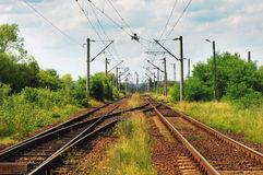 Railway tracks. In the distance stock photos