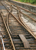 Railway Tracks. With a cross over point Stock Photo
