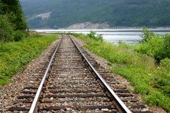 Railway tracks. Along the edge of a lake Royalty Free Stock Photo