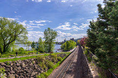 Railway tracks along The Lakewalk in Duluth Royalty Free Stock Photos