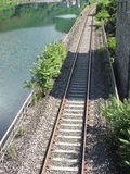 Railway tracks along the river Serchio near Lucca, Tuscany , Italy Stock Photos