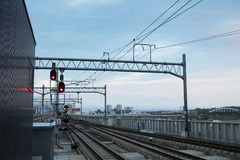 Railway tracks at Asahikawa station HOKKAIDO Stock Photo