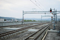 Railway tracks at Asahikawa station HOKKAIDO Royalty Free Stock Photography